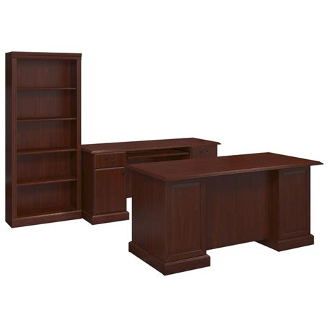 Kathy Ireland Home Office Furniture Kathy Ireland By Bush Bennington 3 Office Set In Harvest Cherry Bnt005cs