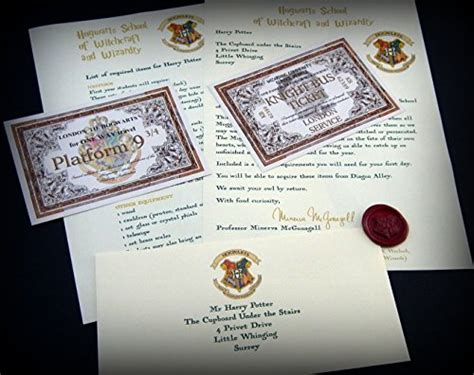 Hogwarts Acceptance Letter Gift Box Harry Potter Style Personalised Acceptance Letter Gift Pack With Hogwarts Express Ticket