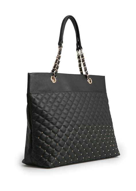Original Mango Studed Bag mango studded quilted shopper bag in black lyst