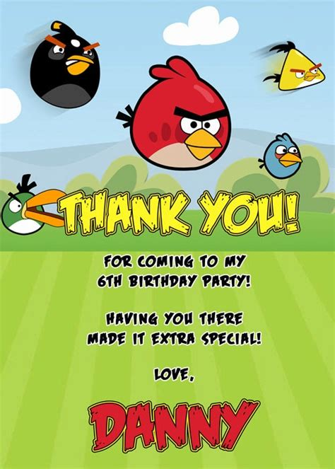 printable thank you card angry birds angry birds thank you card by diyparties2 on all