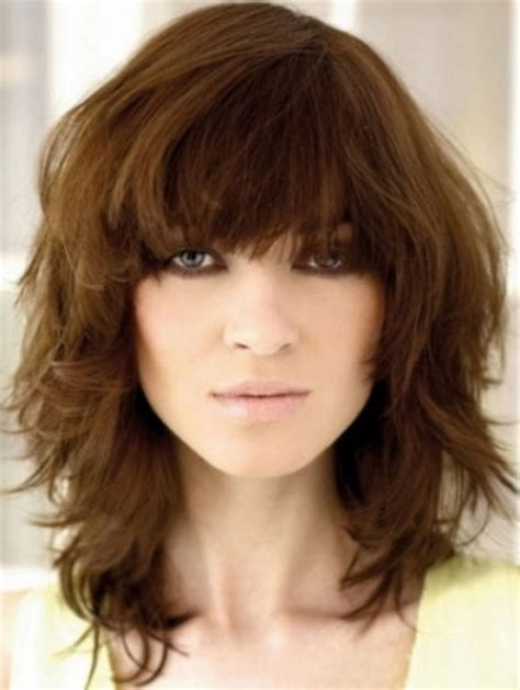 medium length haircuts without layers layered medium hairstyles with bangs