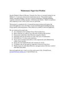 sle supervisor cover letter 89 maintenance supervisor resume writing your great