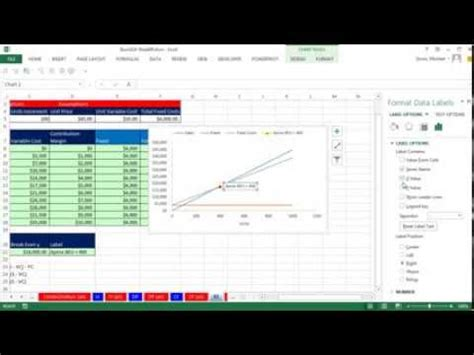 excel magic trick 744 break even analysis formulas chart plotting creating a break even chart in excel doovi