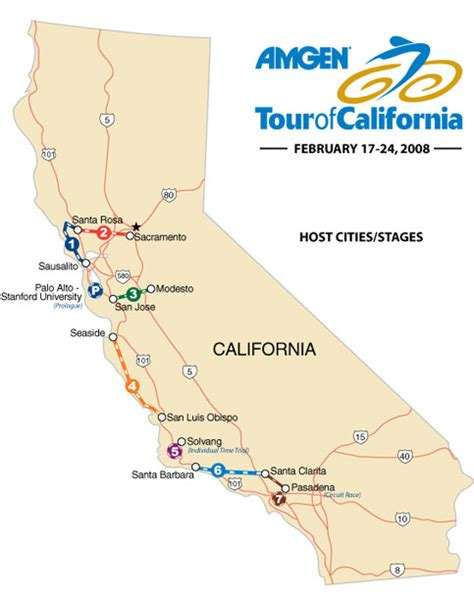 map of stanford california 2008 tour of california route stages teams tv results