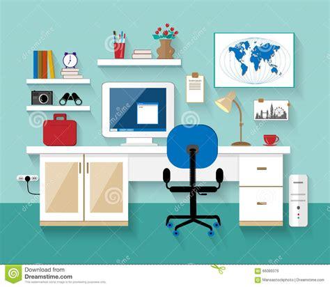 Living Room Flat Design Vector Flat Modern Design Vector Illustration Of Workplace In