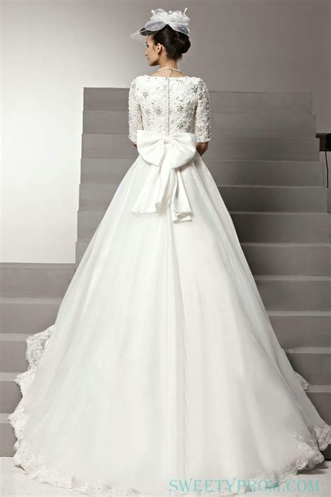 Chiffon A Line Middle Sleeves Wedding Dress With Big Bow On Back,Ball Gown Wedding Dress Ball