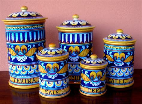 italian kitchen canisters deruta pottery xxl 5 pcs canisters set geo pattern ebay