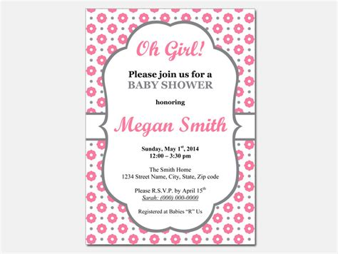 Girl Baby Shower Invitations Templates Theruntime Com Baby Shower Invitation Template