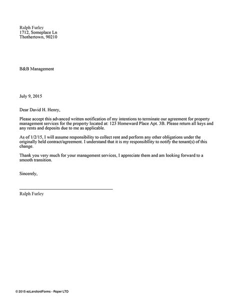 Cancellation Letter For Housing Property Management Contract Termination Landlord Forms Letter Template Agreement Format