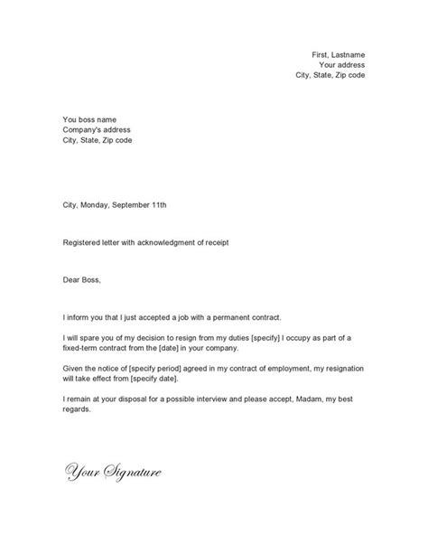 simple resignation letter exle 25 best resignation letter images on