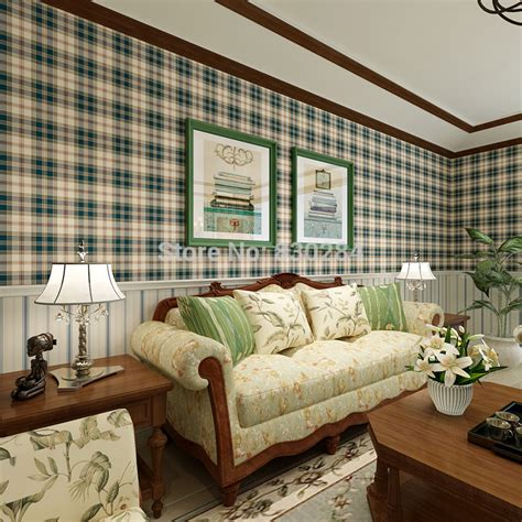 Country Living Room Wallpaper Aliexpress Buy Country Style Scottish Plaid