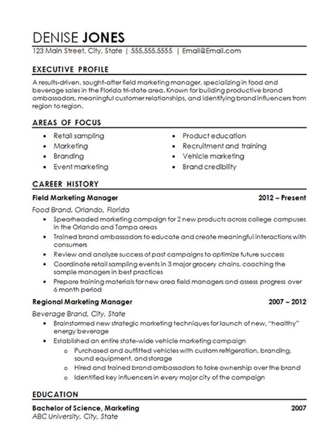 regional marketing resume exle field marketing food beverage