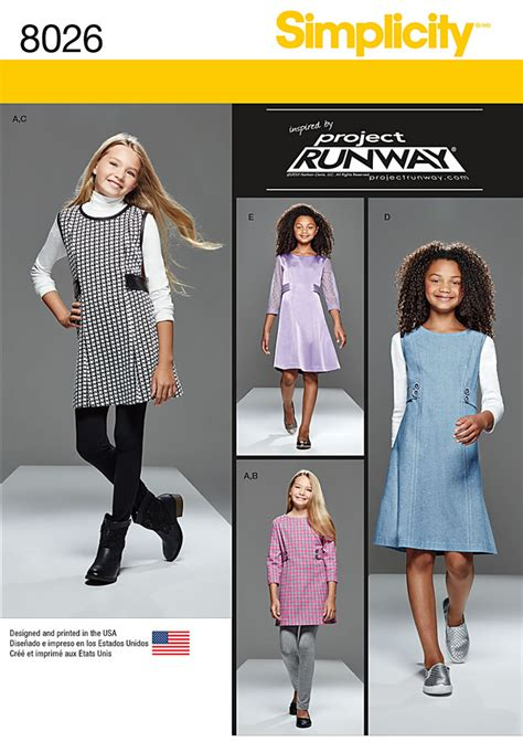 pattern runway review simplicity 8026 girls and girls plus project runway