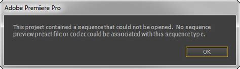 adobe premiere cs6 not opening adobe premiere error project contained a sequence that