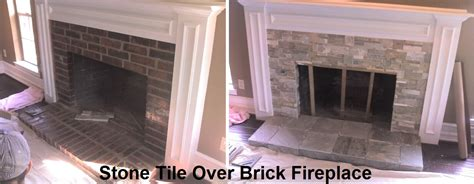 stone tile over brick fireplace