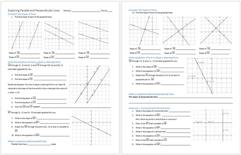 parallel and perpendicular slopes worksheet parallel and perpendicular lines systry