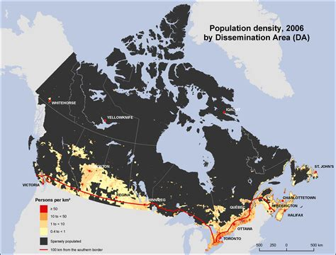 map of canada by population density population density canada 2006