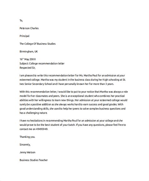 College Letter Of Recommendation Letter Of Recommendation Exle 8 Sles In Pdf Word