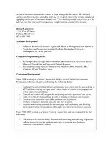 Insurance Underwriter Resume by Commercial Real Estate Underwriter Resume