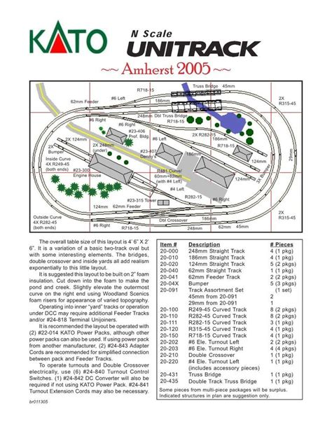 kato unitrack layout guide book n scale amherst 2005 kato unitrack layout train track set