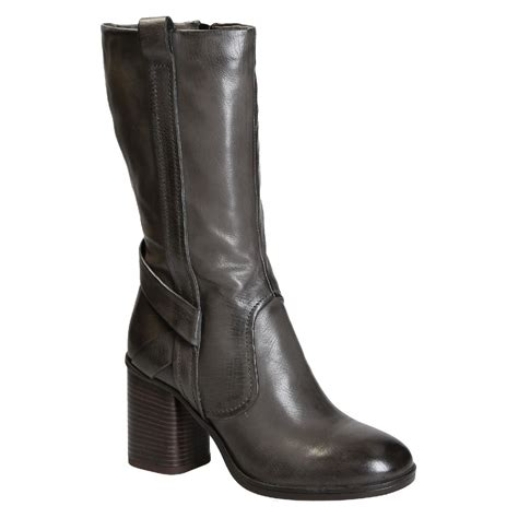 Handmade Italian Leather Boots - block heels mid calf boots in grey italian leather