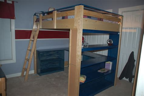 diy loft bed with desk woodwork how to build a full size loft bed pdf plans