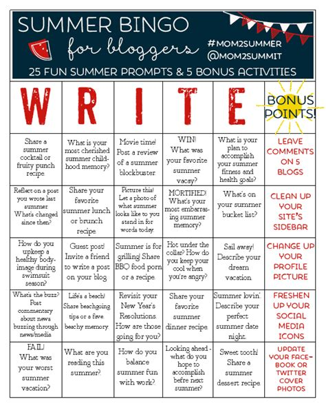 summer blog writing away with blog summer bingo for bloggers 25 fun summer blogging prompts