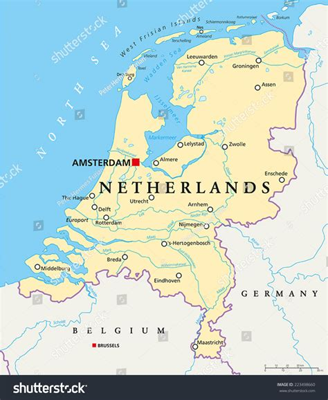 netherlands capital map netherlands political map capital amsterdam national stock