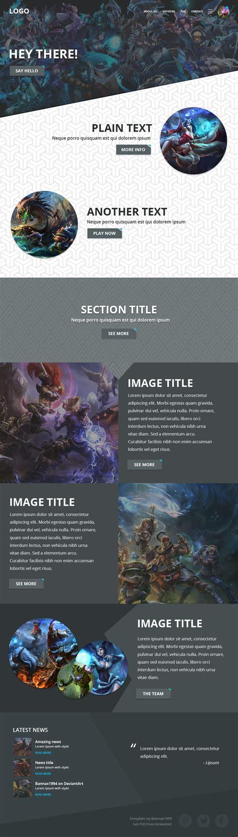 League Of Legends Website Template By Bannax1994 On Deviantart League Website Template