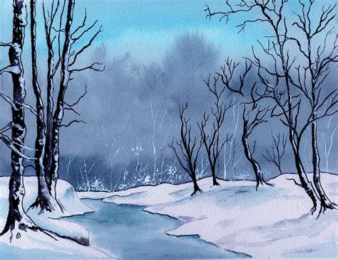 Barns In Maine Maine Snowy Woods Painting By Brenda Owen