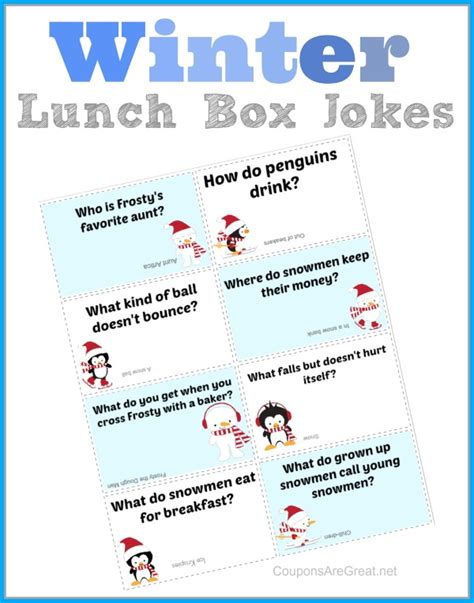 printable children s jokes printable winter lunch box notes using winter jokes for kids