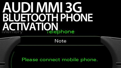 Audi Mmi Code by How To Activate Bluetooth Profile Audi Mmi 3g