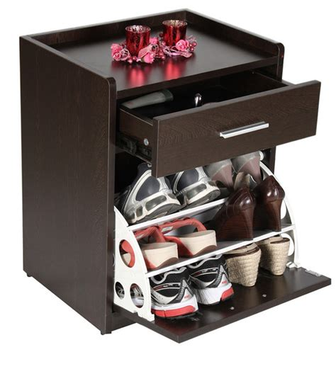 convertible small shoe rack with drawer in wenge finish by