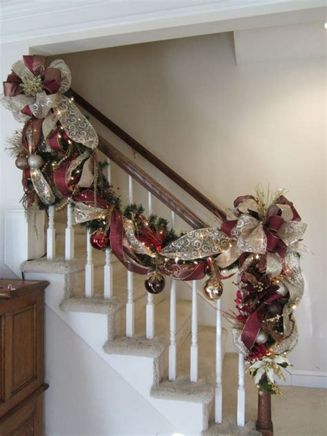 christmas banister garland 1000 ideas about christmas staircase decor on pinterest