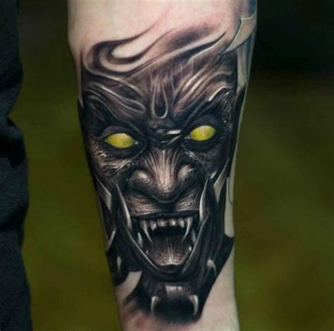 black and grey demon tattoos victor portugal black and gray demon tattoo with color