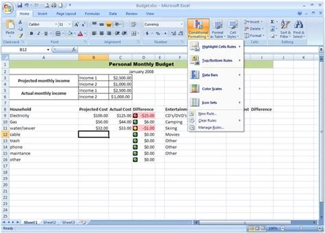 format conditional formatting excel 2007 excel 2007 easy learning step 6 easy learning point