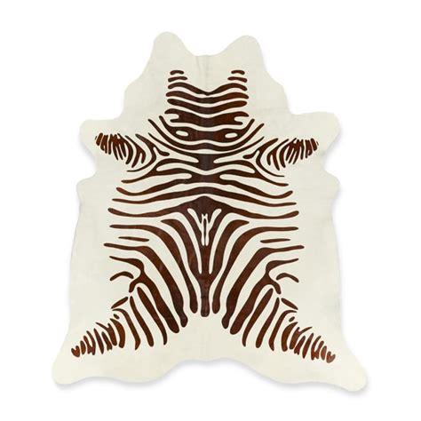 stenciled zebra hair on hide rug chocolate williams sonoma