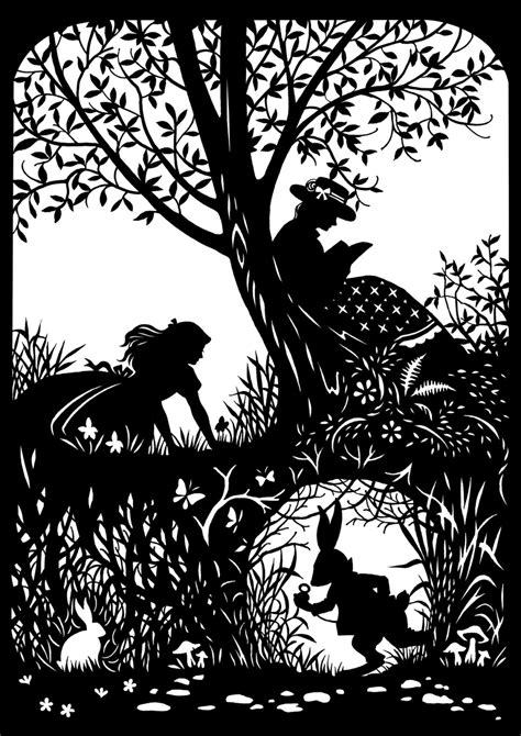 Silhouette Templates For Paper Cutting Alice With Rabbit Paper Cutting By Cutsbydeborah On Etsy