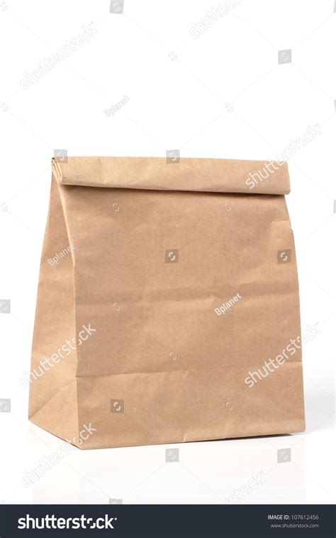 Folded Paper Bag - folded paper bag stock photo 107612456