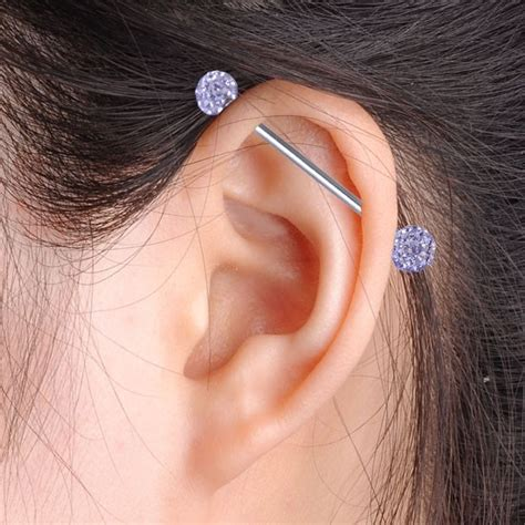 14g industrial barbell ear cartilage