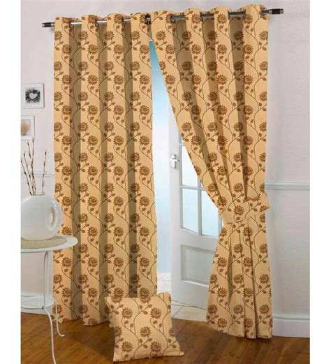 tissue curtains presto chocolate n gold colour tissue embroidered door