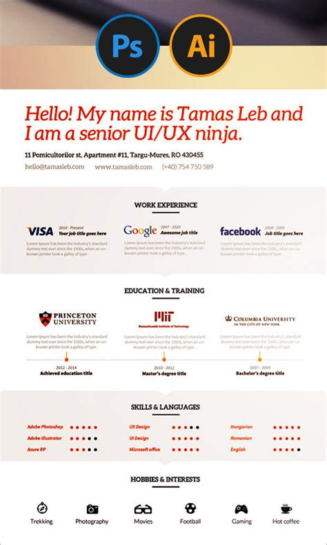 cv template ai 20 best free resume cv templates in ai indesign psd