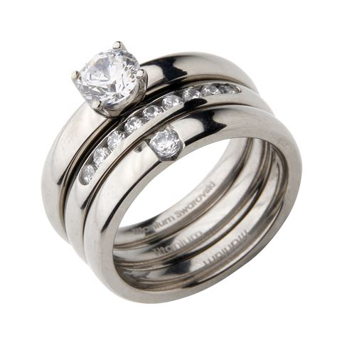 titanium bridal set engagement eternity and cz