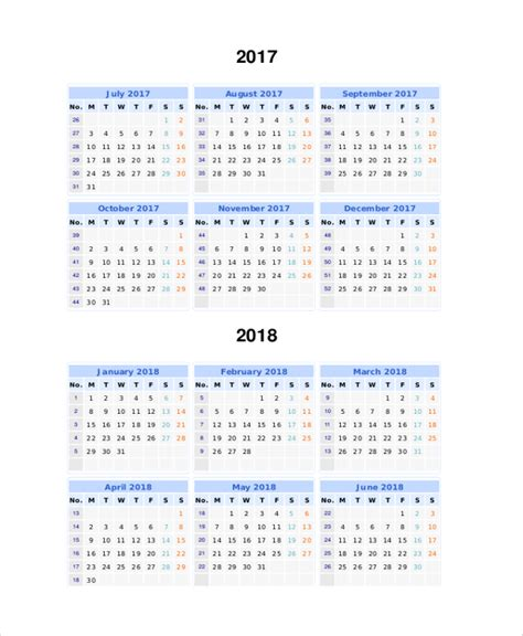 printable year calendar 2017 and 2018 8 printable 2017 calendars sle templates