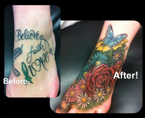 feminine flowers coverup foot tattoo by steve malley tattoos