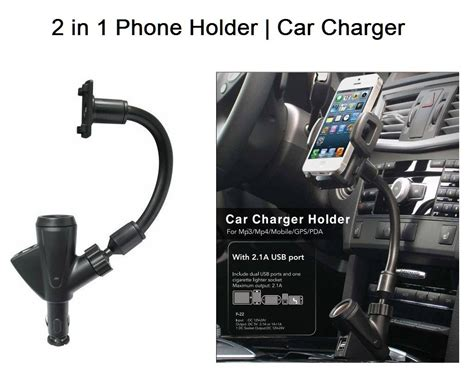 universal 2 in 1 car phone holder with dual usb car charger for iphone lax gadgets