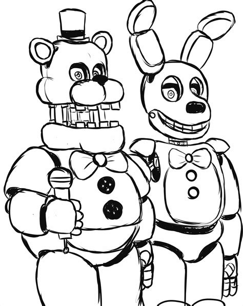 Fnaf 1 Coloring Pages by B0vgsoy Draw Nightmare Freddy Fazbear Five Nights At