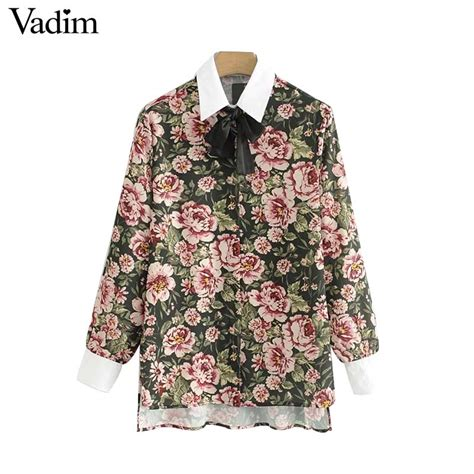 Retro Pattern Blouse 217211 vadim vintage floral pattern shirts bow tie neck side split sleeve blouses retro