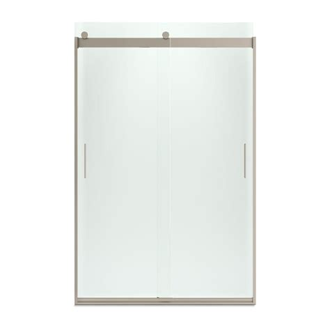 Kohler Sliding Shower Door Kohler Levity 48 In X 74 In Semi Frameless Sliding Shower Door In Bronze With Handle K 706008