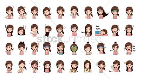 T Mobile Unlimited High cartoon girl expressions pack vector image 1957239